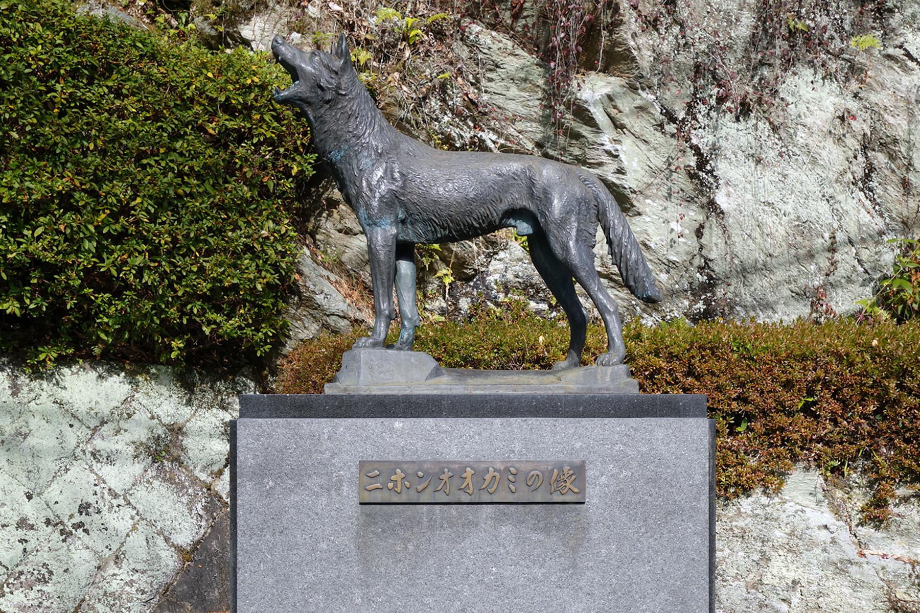 A bronze statue of the Japanese wolf in Higashiyoshino Village, Nara Prefecture   ALEX K.T. MARTIN